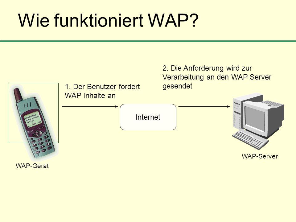 Wie funktioniert WAP? Internet 1. Der Benutzer fordert WAP Inhalte an 2. Die Anforderung wird zur Verarbeitung an den WAP Server gesendet WAP-Gerät WA