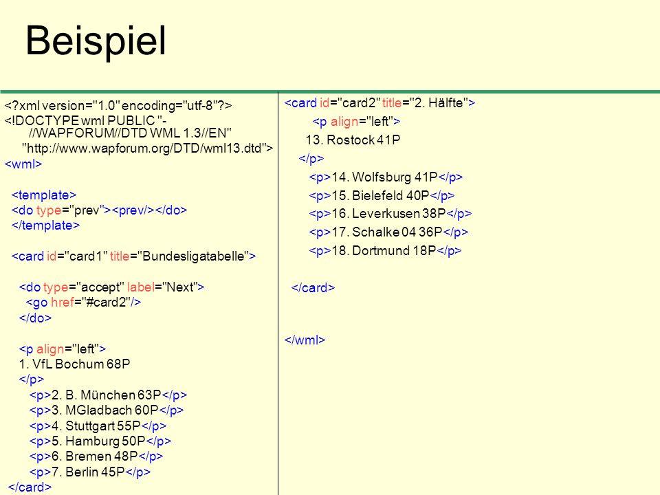 Beispiel <!DOCTYPE wml PUBLIC