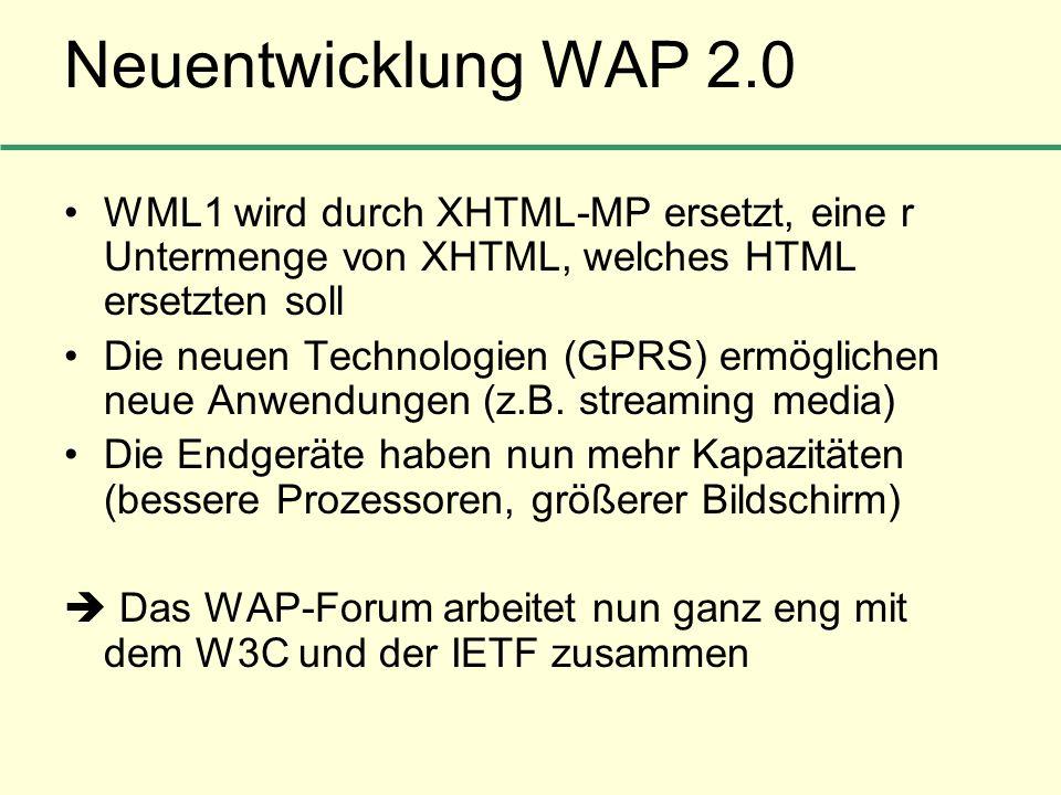 Neuentwicklung WAP 2.0 WML1 wird durch XHTML-MP ersetzt, eine r Untermenge von XHTML, welches HTML ersetzten soll Die neuen Technologien (GPRS) ermögl