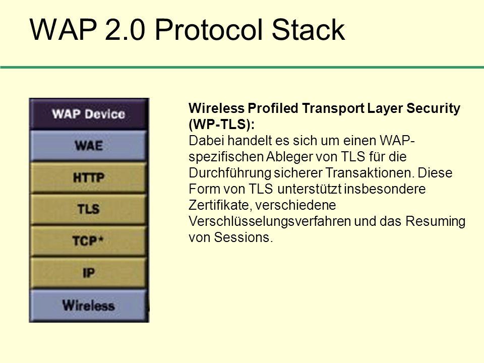 WAP 2.0 Protocol Stack Wireless Profiled Transport Layer Security (WP-TLS): Dabei handelt es sich um einen WAP- spezifischen Ableger von TLS für die D