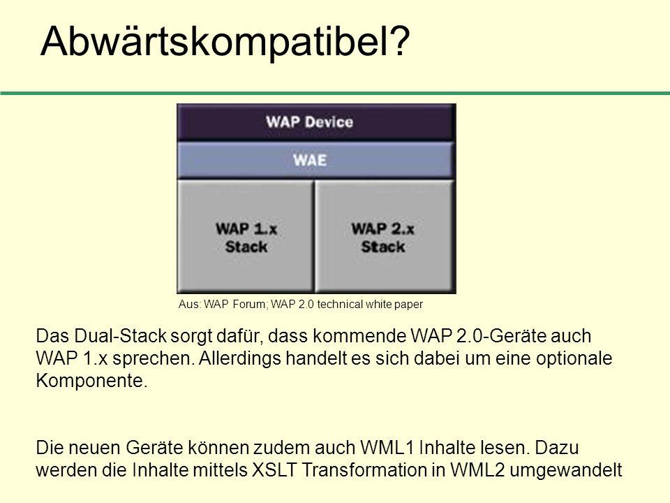 Abwärtskompatibel? Das Dual-Stack sorgt dafür, dass kommende WAP 2.0-Geräte auch WAP 1.x sprechen. Allerdings handelt es sich dabei um eine optionale