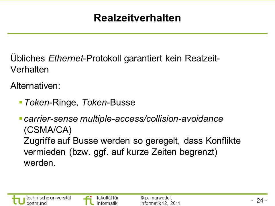 - 23 - technische universität dortmund fakultät für informatik p. marwedel, informatik 12, 2011 Kommunikation - Anforderungen - Realzeitverhalten Effi