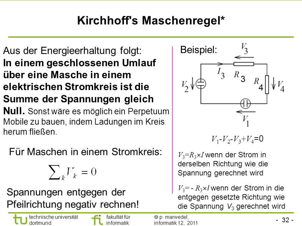 - 31 - technische universität dortmund fakultät für informatik p. marwedel, informatik 12, 2011 Kirchhoffs Knotenregel* Das Prinzip der Ladungserhaltu