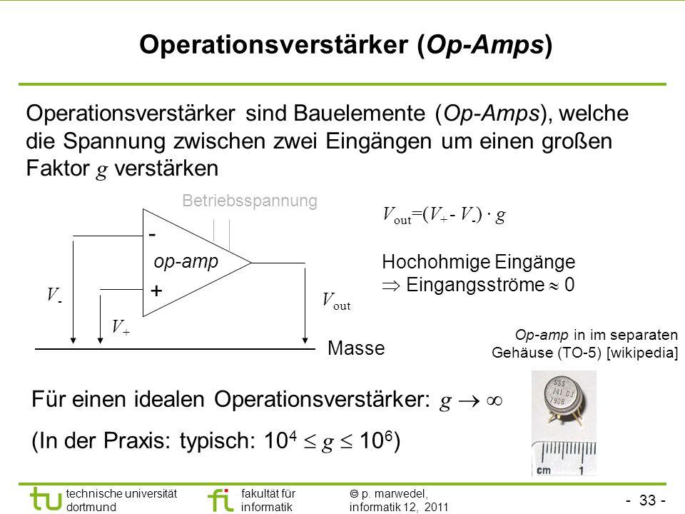 - 32 - technische universität dortmund fakultät für informatik p. marwedel, informatik 12, 2011 Kirchhoff's Maschenregel* Aus der Energieerhaltung fol
