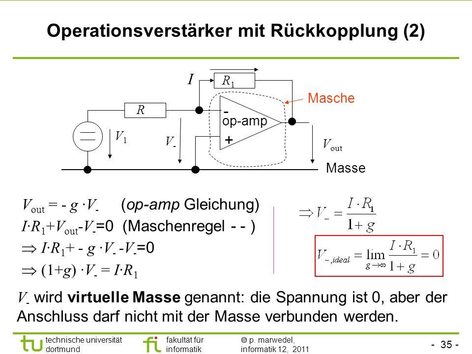 - 34 - technische universität dortmund fakultät für informatik p. marwedel, informatik 12, 2011 Operationsverstärker mit Rückkopplung (1) In Schaltkre