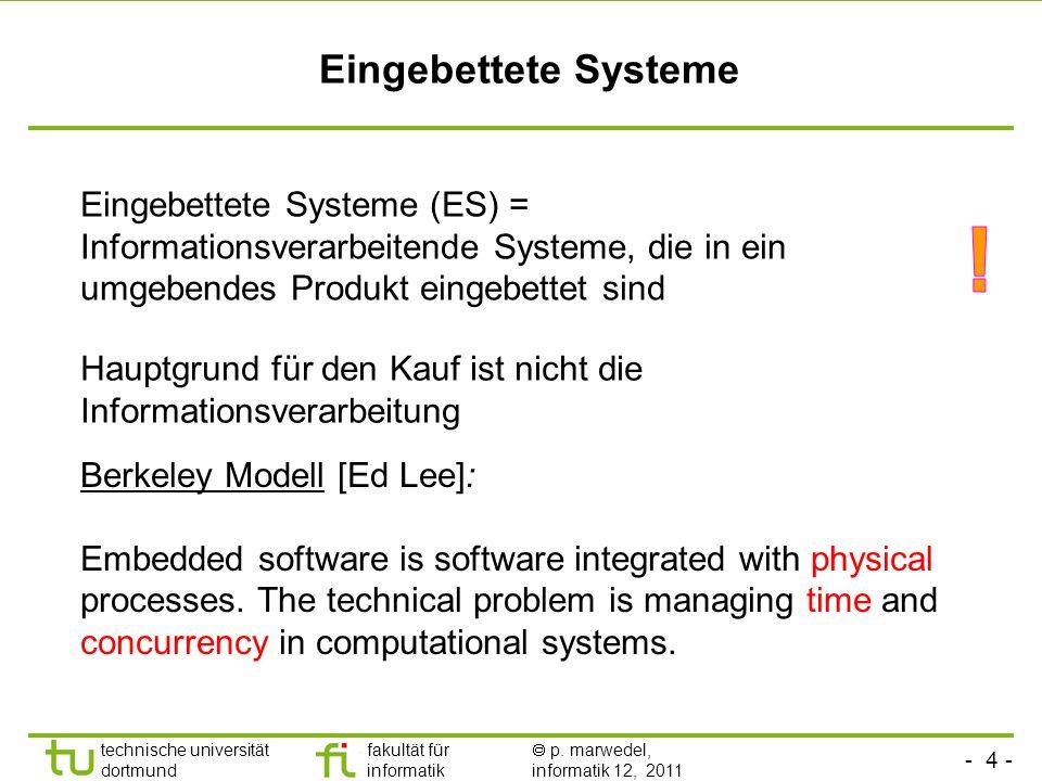 - 3 - technische universität dortmund fakultät für informatik p. marwedel, informatik 12, 2011 Was ist ein Eingebettetes System?