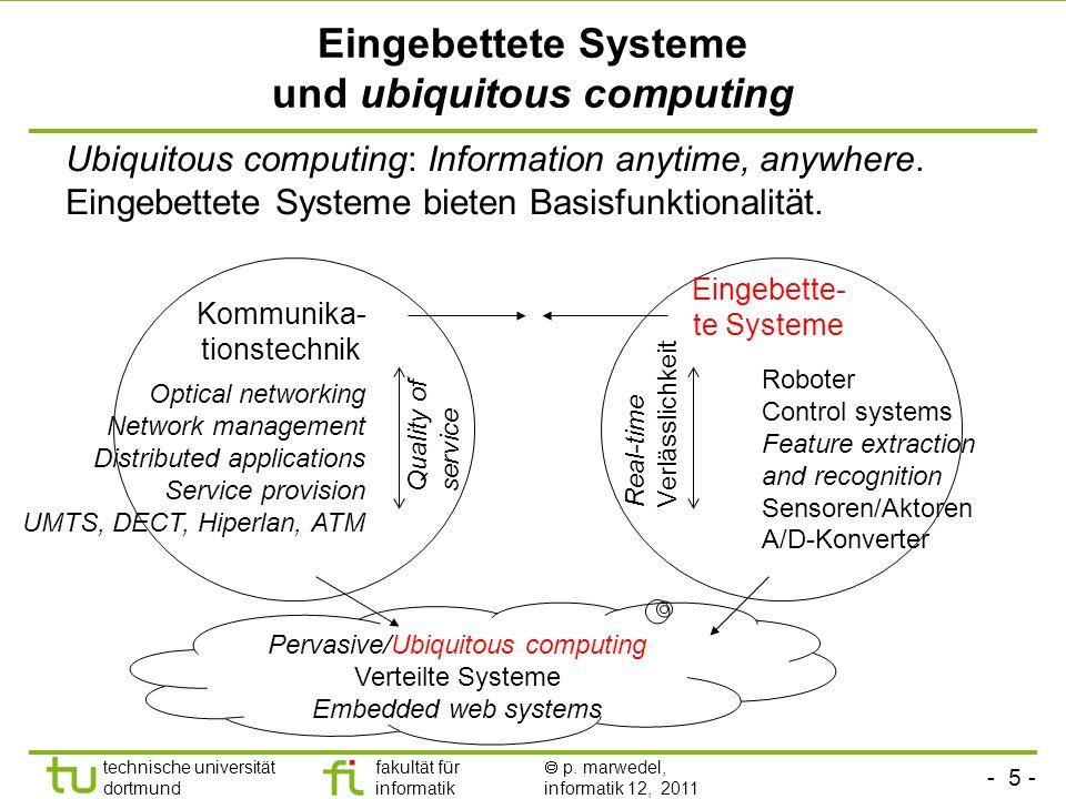 - 4 - technische universität dortmund fakultät für informatik p. marwedel, informatik 12, 2011 Eingebettete Systeme Hauptgrund für den Kauf ist nicht