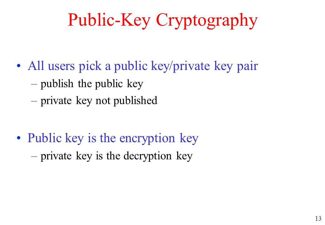 13 Public-Key Cryptography All users pick a public key/private key pair –publish the public key –private key not published Public key is the encryptio