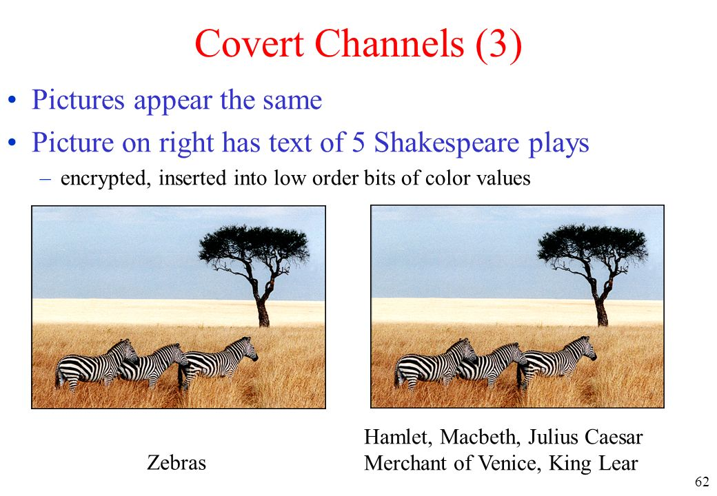 62 Covert Channels (3) Pictures appear the same Picture on right has text of 5 Shakespeare plays –encrypted, inserted into low order bits of color val