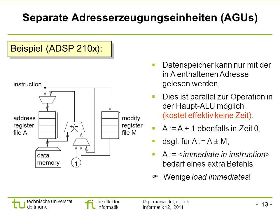 - 13 - technische universität dortmund fakultät für informatik p. marwedel, g. fink informatik 12, 2011 Separate Adresserzeugungseinheiten (AGUs) Date