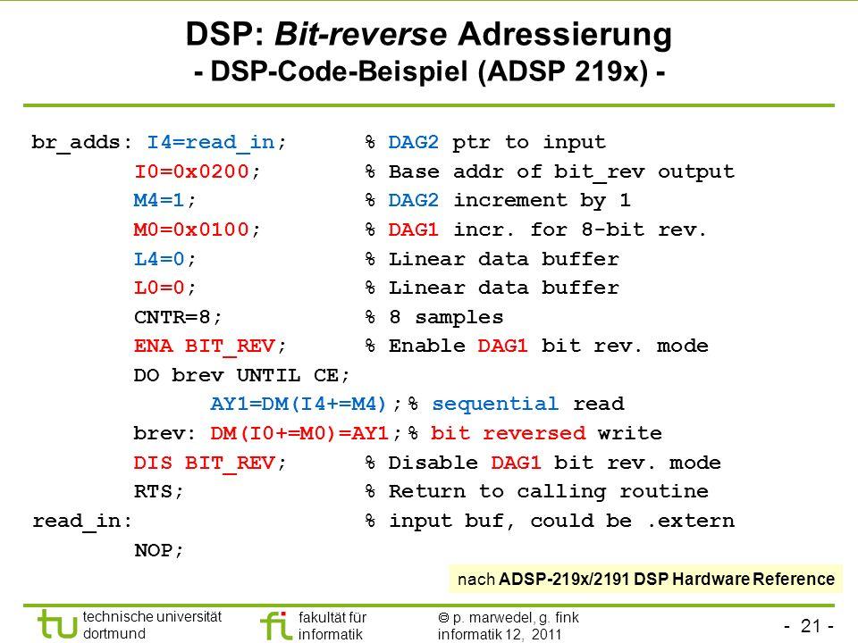 - 21 - technische universität dortmund fakultät für informatik p. marwedel, g. fink informatik 12, 2011 DSP: Bit-reverse Adressierung - DSP-Code-Beisp