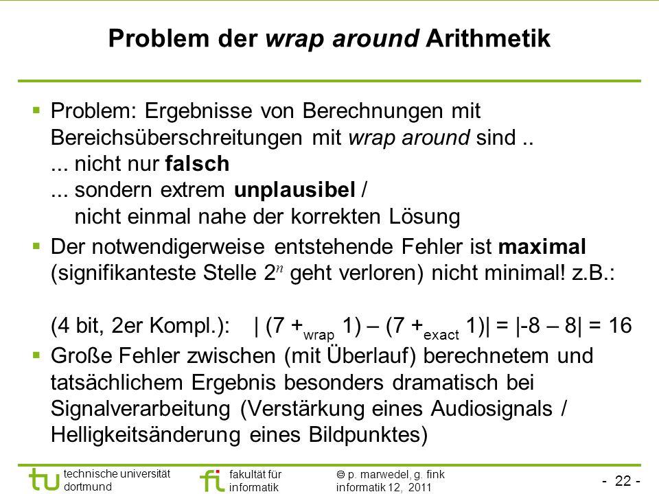 - 22 - technische universität dortmund fakultät für informatik p. marwedel, g. fink informatik 12, 2011 Problem der wrap around Arithmetik Problem: Er