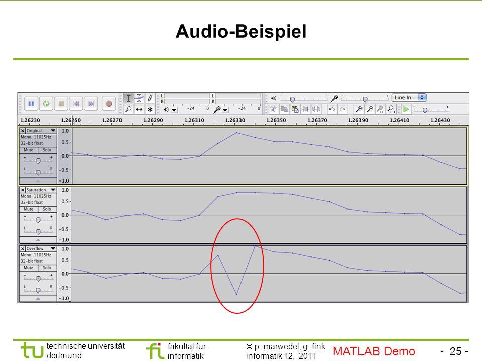 - 25 - technische universität dortmund fakultät für informatik p. marwedel, g. fink informatik 12, 2011 Audio-Beispiel MATLAB Demo