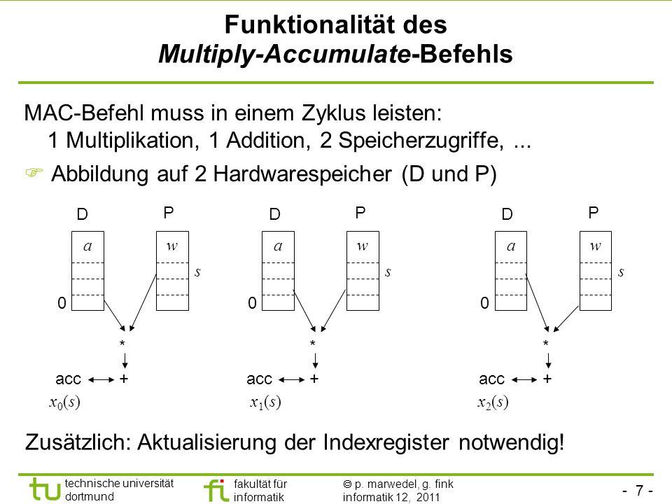 - 7 - technische universität dortmund fakultät für informatik p. marwedel, g. fink informatik 12, 2011 Funktionalität des Multiply-Accumulate-Befehls