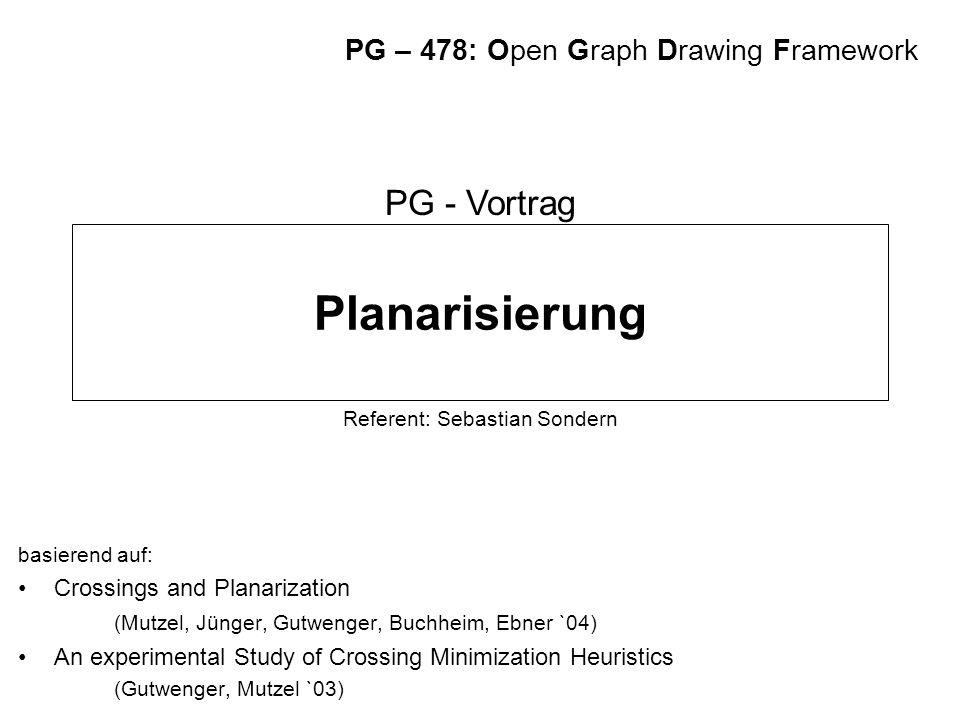 Planarisierung basierend auf: Crossings and Planarization (Mutzel, Jünger, Gutwenger, Buchheim, Ebner `04) An experimental Study of Crossing Minimizat