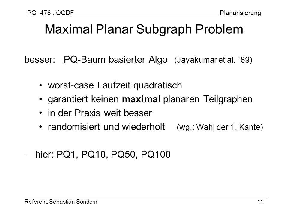 PG 478 : OGDF Planarisierung Referent: Sebastian Sondern11 Maximal Planar Subgraph Problem besser: PQ-Baum basierter Algo (Jayakumar et al. `89) worst