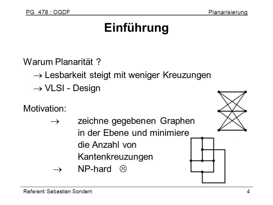 PG 478 : OGDF Planarisierung Referent: Sebastian Sondern4 Einführung Warum Planarität ? Lesbarkeit steigt mit weniger Kreuzungen VLSI - Design Motivat