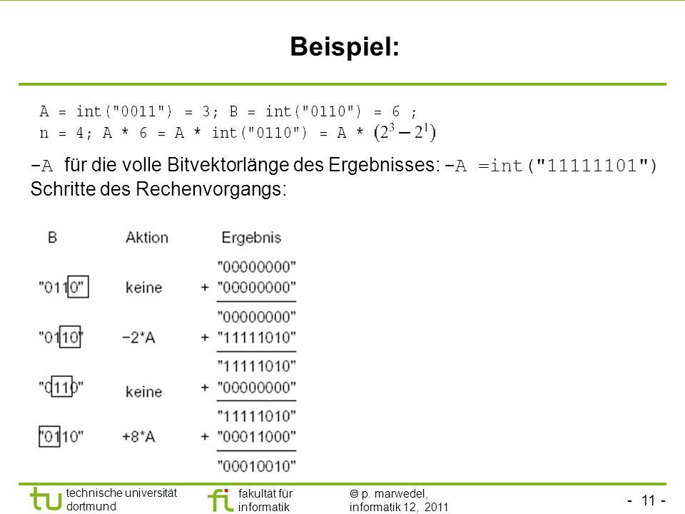 - 11 - technische universität dortmund fakultät für informatik p. marwedel, informatik 12, 2011 Beispiel: -A für die volle Bitvektorlänge des Ergebnis