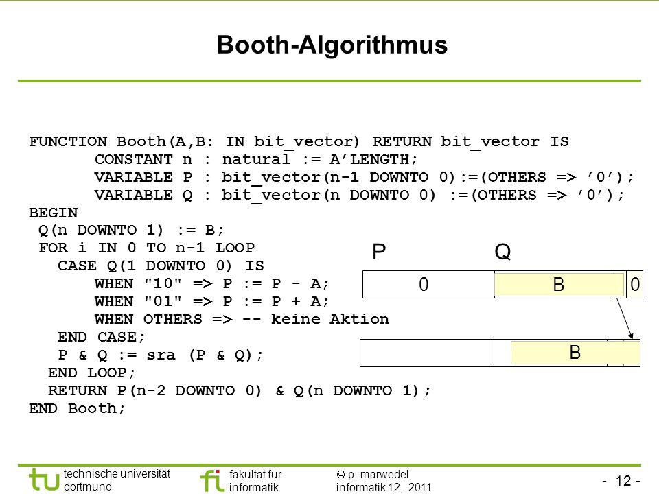 - 12 - technische universität dortmund fakultät für informatik p. marwedel, informatik 12, 2011 0 FUNCTION Booth(A,B: IN bit_vector) RETURN bit_vector