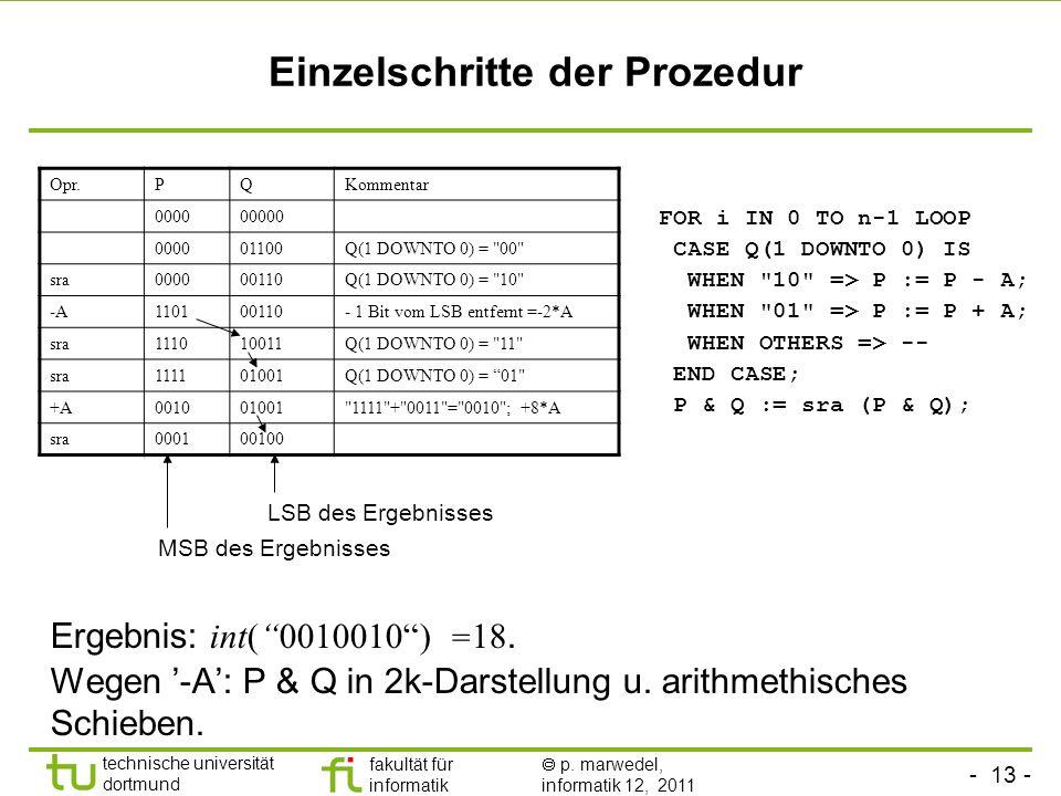 - 13 - technische universität dortmund fakultät für informatik p. marwedel, informatik 12, 2011 Einzelschritte der Prozedur Ergebnis: int(0010010) = 1