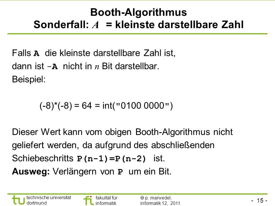 - 15 - technische universität dortmund fakultät für informatik p. marwedel, informatik 12, 2011 Booth-Algorithmus Sonderfall: A = kleinste darstellbar
