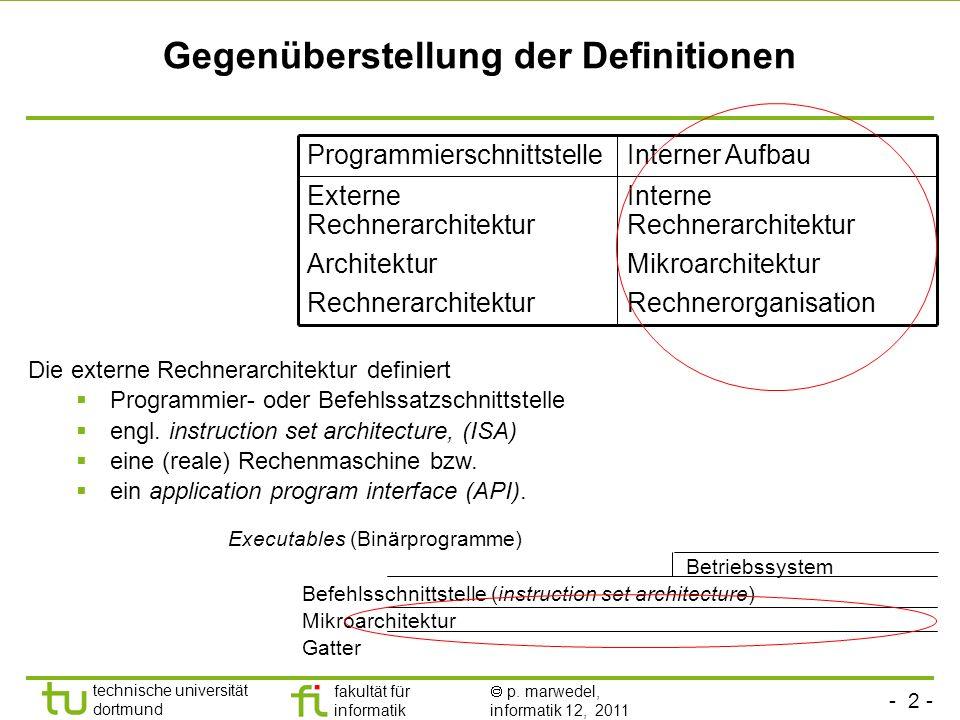 - 2 - technische universität dortmund fakultät für informatik p. marwedel, informatik 12, 2011 Gegenüberstellung der Definitionen Die externe Rechnera