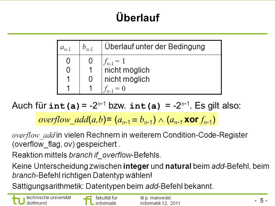 - 5 - technische universität dortmund fakultät für informatik p. marwedel, informatik 12, 2011 Überlauf a n-1 b n-1 Überlauf unter der Bedingung 00110