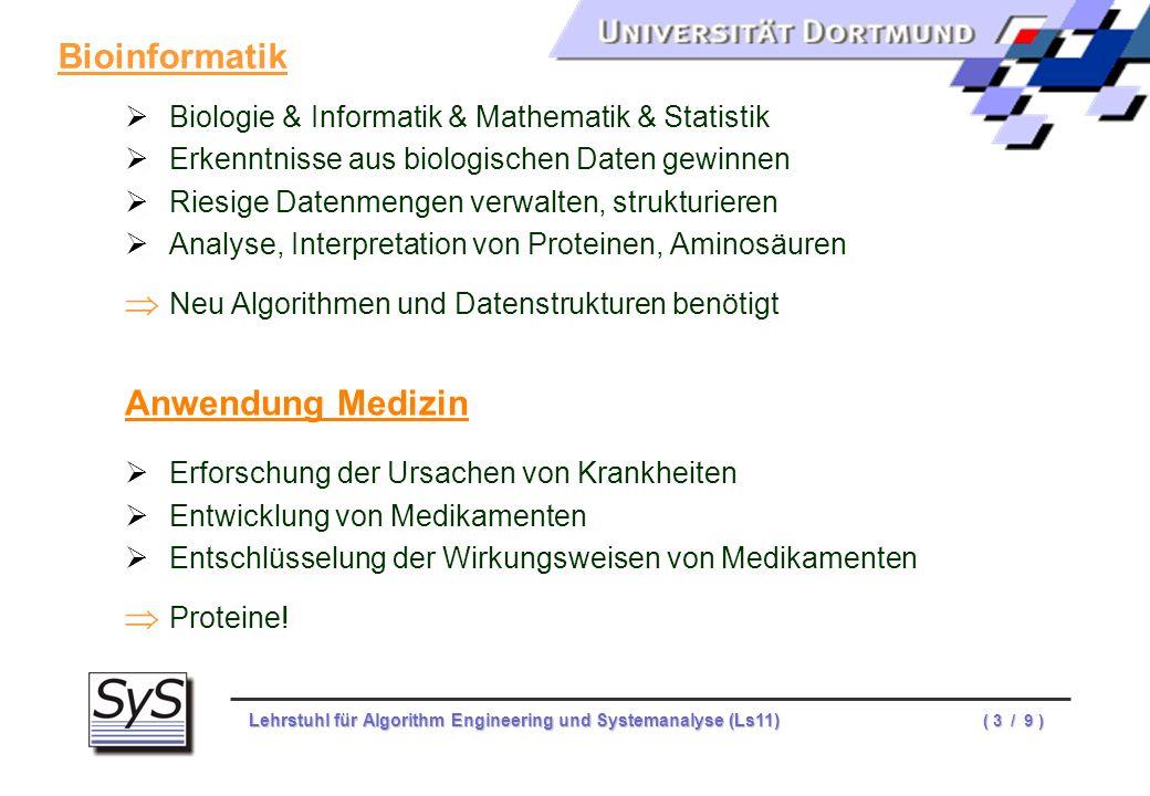 Lehrstuhl für Algorithm Engineering und Systemanalyse (Ls11) ( 3 / 9 ) Biologie & Informatik & Mathematik & Statistik Erkenntnisse aus biologischen Da
