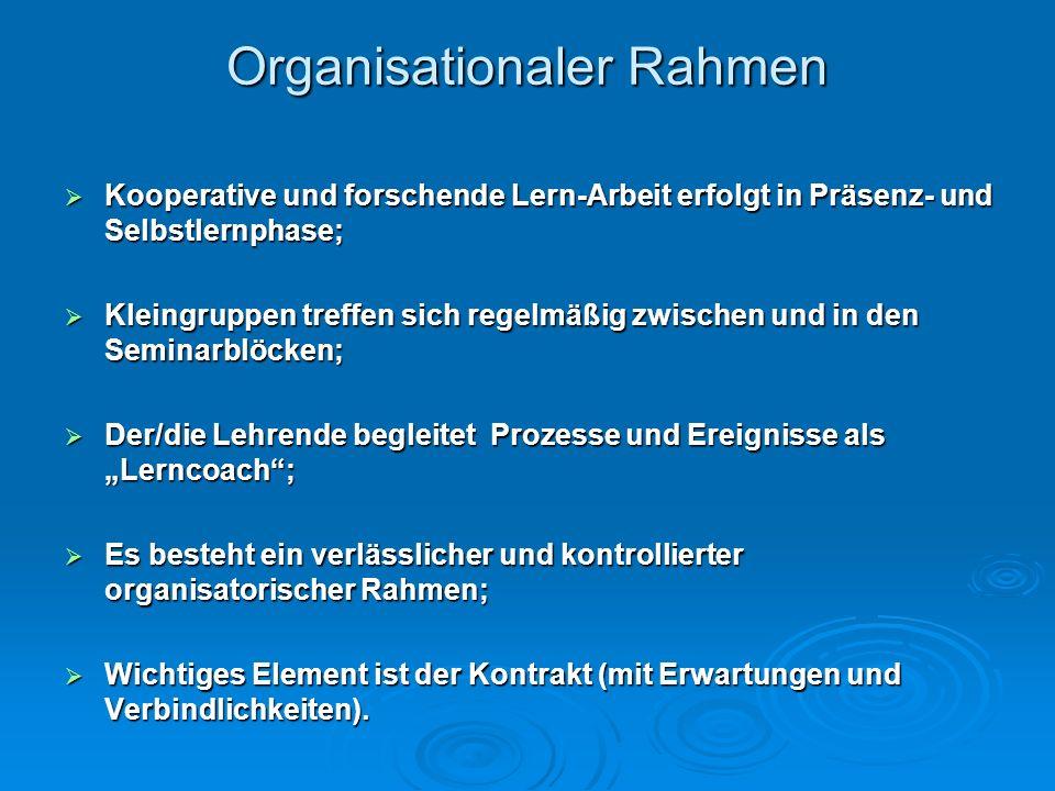 Organisationaler Rahmen Kooperative und forschende Lern-Arbeit erfolgt in Präsenz- und Selbstlernphase; Kooperative und forschende Lern-Arbeit erfolgt