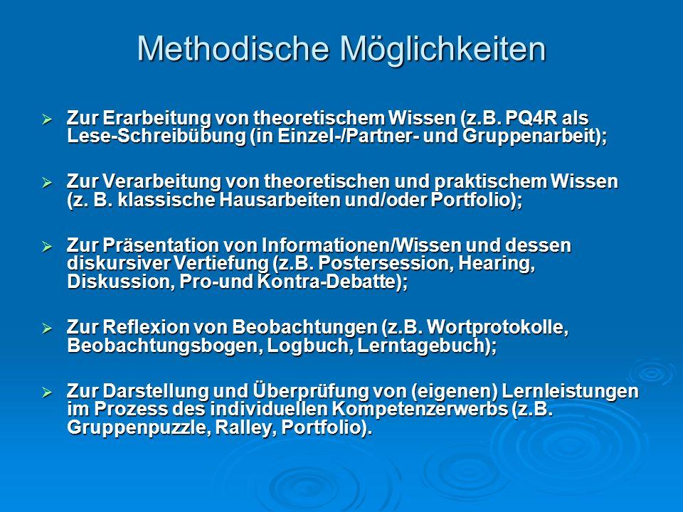 Methodische Möglichkeiten Zur Erarbeitung von theoretischem Wissen (z.B. PQ4R als Lese-Schreibübung (in Einzel-/Partner- und Gruppenarbeit); Zur Erarb