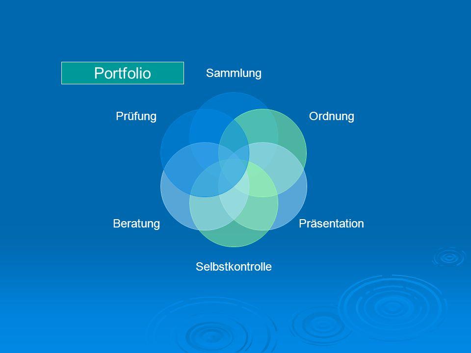 Sammlung Ordnung Präsentation Selbstkontrolle Beratung Prüfung Portfolio