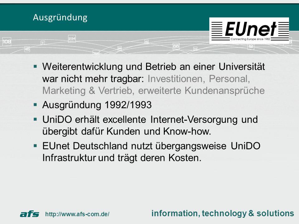 Weitgehend reibungsloser Übergang vertragliche Kundenbindung im Herbst 1992, technische Migration im Frühjahr 1993.