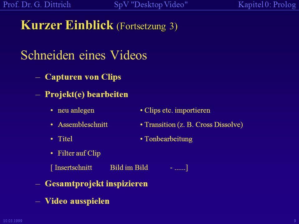 Kapitel 0: PrologSpV Desktop Video Prof.Dr. G.