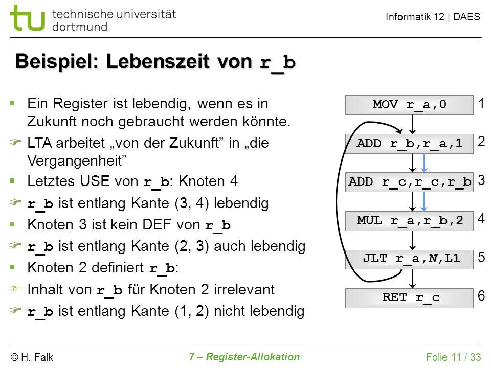 © H. Falk Informatik 12   DAES 7 – Register-Allokation Folie 11 / 33 Beispiel: Lebenszeit von r_b ADD r_c,r_c,r_b ADD r_b,r_a,1 MOV r_a,0 MUL r_a,r_b,