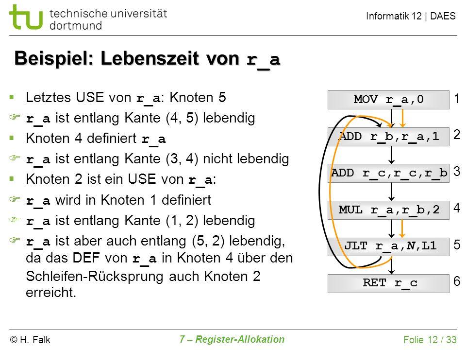 © H. Falk Informatik 12   DAES 7 – Register-Allokation Folie 12 / 33 Beispiel: Lebenszeit von r_a ADD r_c,r_c,r_b ADD r_b,r_a,1 MOV r_a,0 MUL r_a,r_b,