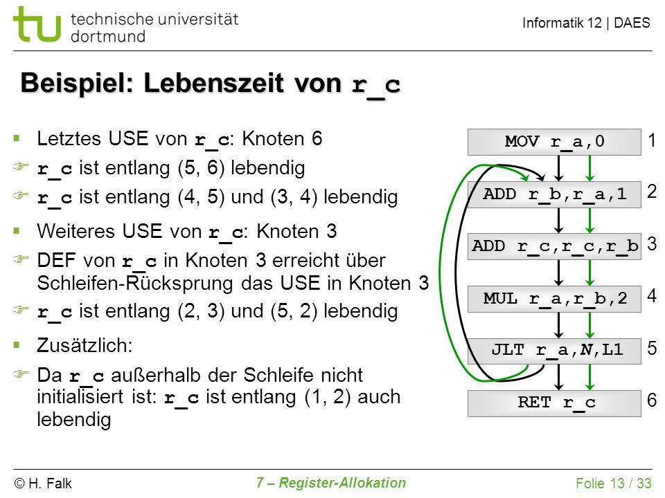 © H. Falk Informatik 12   DAES 7 – Register-Allokation Folie 13 / 33 Beispiel: Lebenszeit von r_c ADD r_c,r_c,r_b ADD r_b,r_a,1 MOV r_a,0 MUL r_a,r_b,