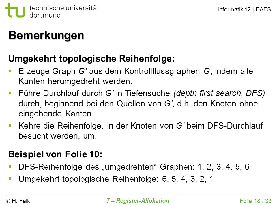 © H. Falk Informatik 12   DAES 7 – Register-Allokation Folie 18 / 33 Bemerkungen Umgekehrt topologische Reihenfolge: Erzeuge Graph G aus dem Kontrollf