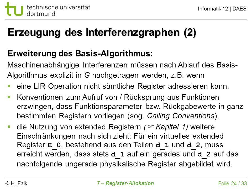© H. Falk Informatik 12   DAES 7 – Register-Allokation Folie 24 / 33 Erzeugung des Interferenzgraphen (2) Erweiterung des Basis-Algorithmus: Maschinen
