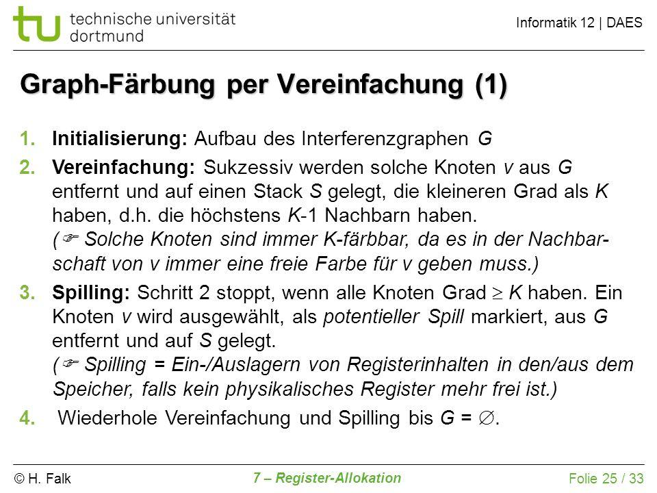 © H. Falk Informatik 12   DAES 7 – Register-Allokation Folie 25 / 33 Graph-Färbung per Vereinfachung (1) 1.Initialisierung: Aufbau des Interferenzgrap