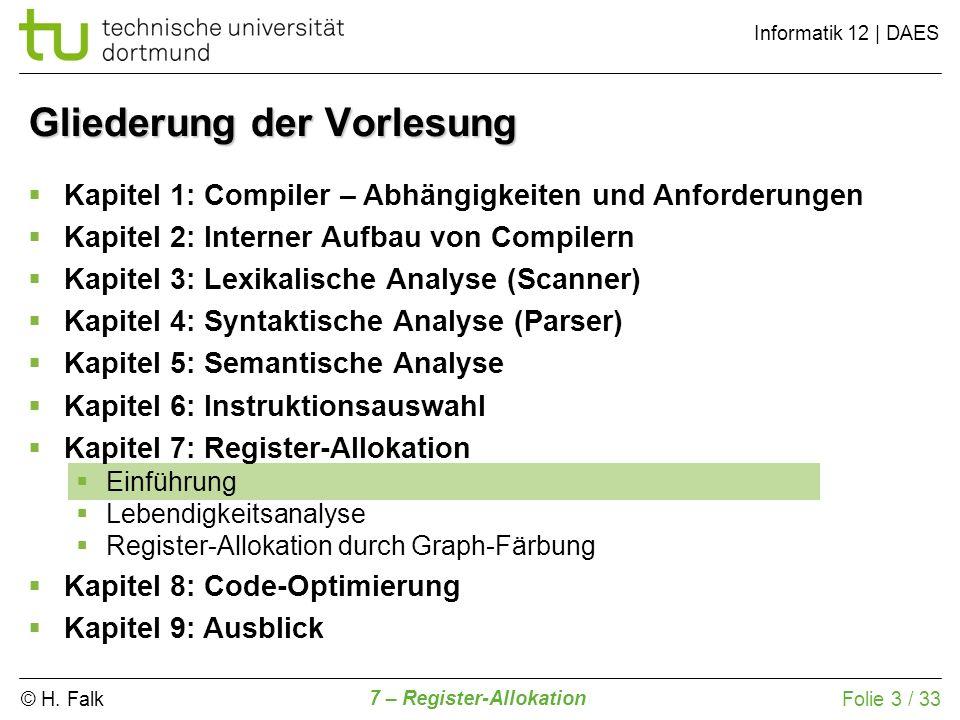 © H. Falk Informatik 12   DAES 7 – Register-Allokation Folie 3 / 33 Gliederung der Vorlesung Kapitel 1: Compiler – Abhängigkeiten und Anforderungen Ka