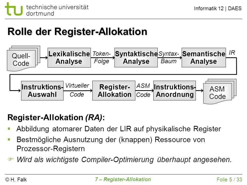 © H. Falk Informatik 12   DAES 7 – Register-Allokation Folie 5 / 33 Register-Allokation (RA): Abbildung atomarer Daten der LIR auf physikalische Regis