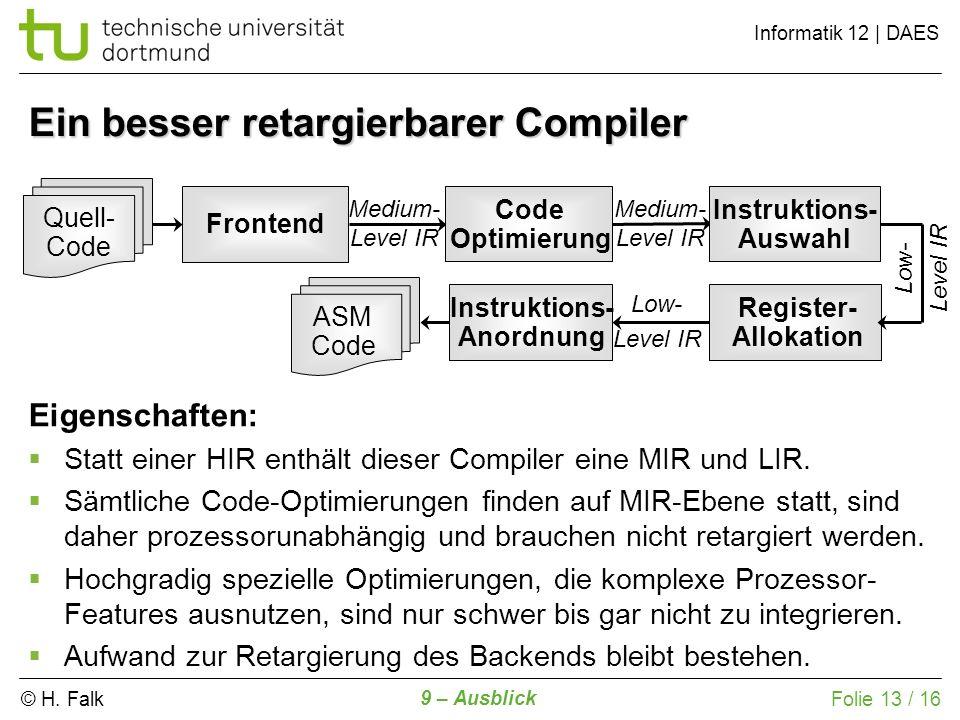 © H. Falk Informatik 12 | DAES 9 – Ausblick Folie 13 / 16 Frontend Quell- Code Medium- Level IR Code Optimierung Medium- Level IR Low- Level IR Instru