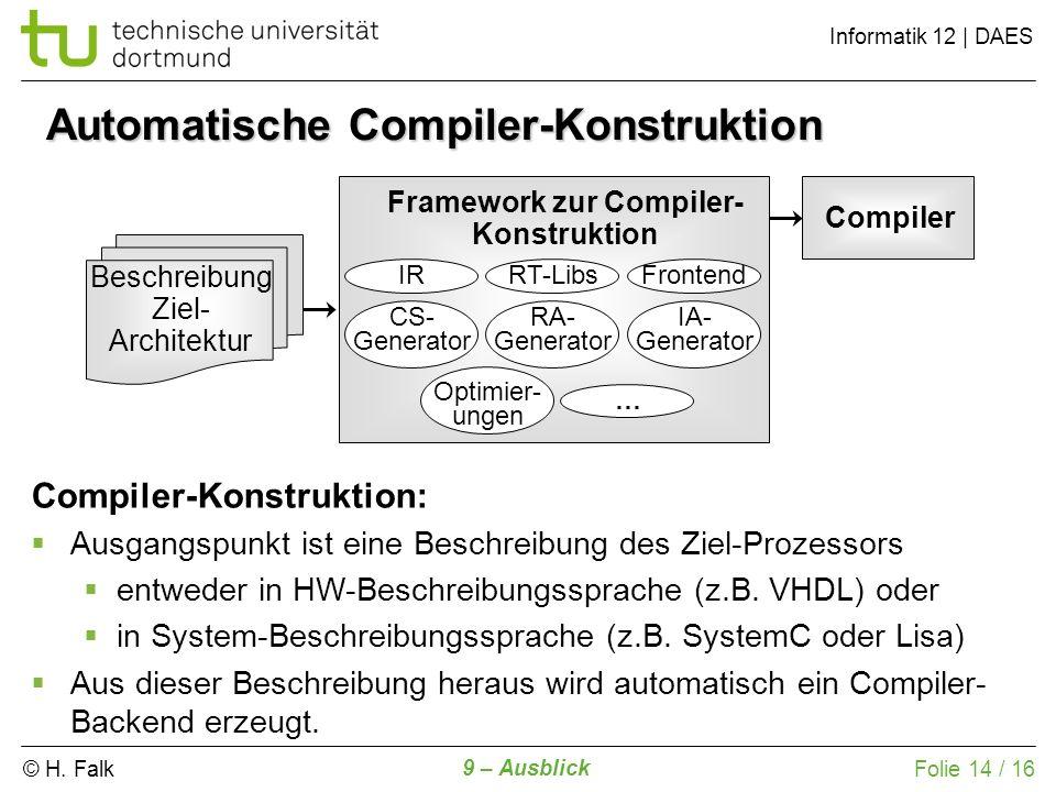 © H. Falk Informatik 12 | DAES 9 – Ausblick Folie 14 / 16 Automatische Compiler-Konstruktion Beschreibung Ziel- Architektur Framework zur Compiler- Ko