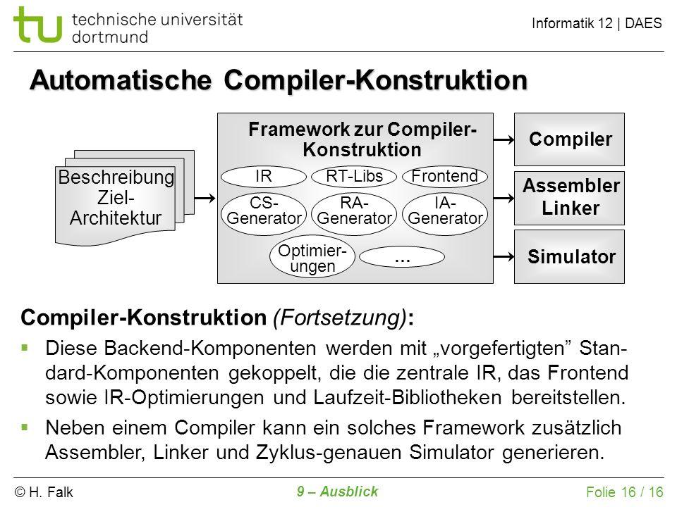© H. Falk Informatik 12 | DAES 9 – Ausblick Folie 16 / 16 Automatische Compiler-Konstruktion Beschreibung Ziel- Architektur Framework zur Compiler- Ko