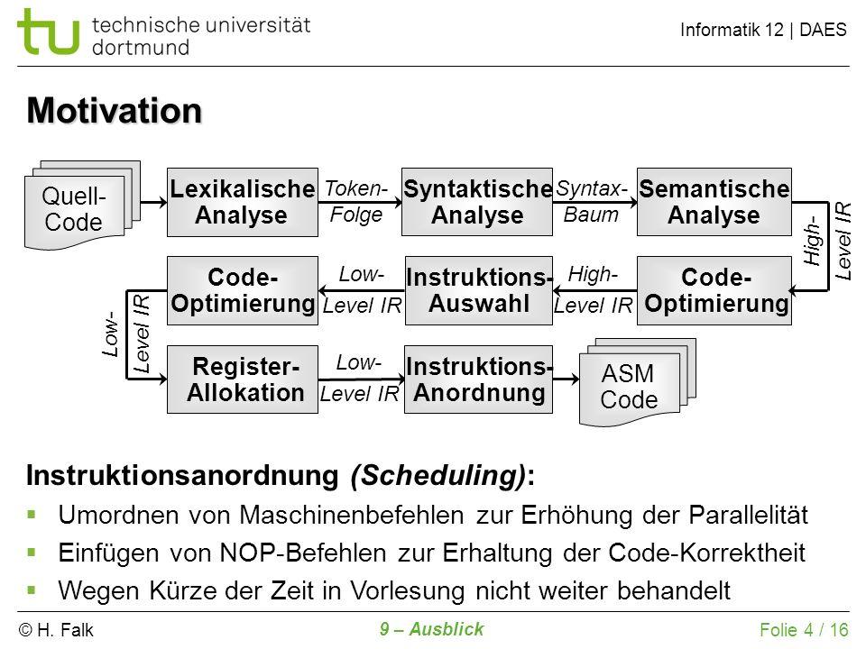 © H. Falk Informatik 12 | DAES 9 – Ausblick Folie 4 / 16 Lexikalische Analyse Quell- Code Token- Folge Syntaktische Analyse Syntax- Baum High- Level I