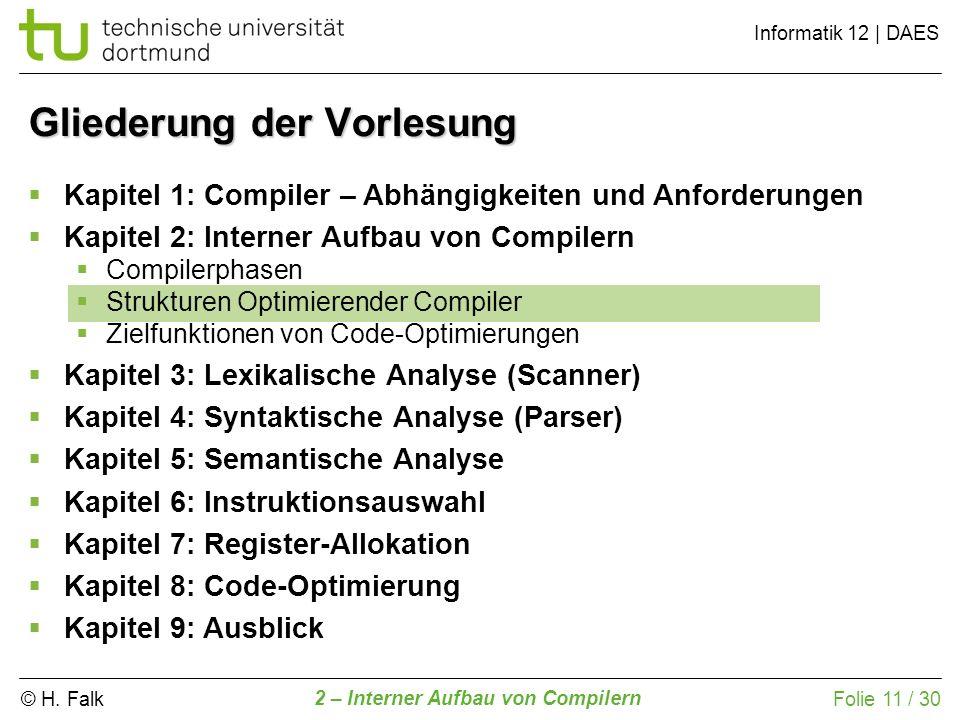 © H. Falk Informatik 12 | DAES 2 – Interner Aufbau von Compilern Folie 11 / 30 Gliederung der Vorlesung Kapitel 1: Compiler – Abhängigkeiten und Anfor