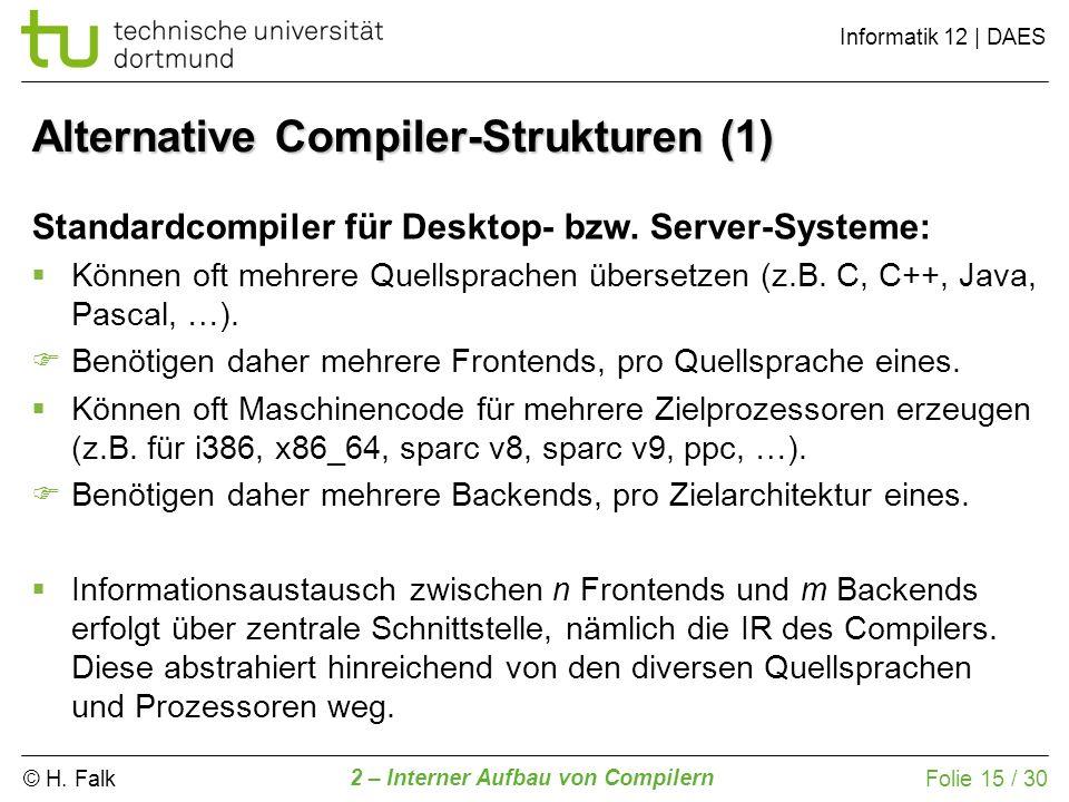 © H. Falk Informatik 12 | DAES 2 – Interner Aufbau von Compilern Folie 15 / 30 Alternative Compiler-Strukturen (1) Standardcompiler für Desktop- bzw.