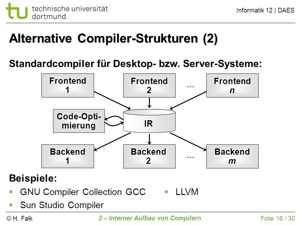 © H. Falk Informatik 12 | DAES 2 – Interner Aufbau von Compilern Folie 16 / 30 Alternative Compiler-Strukturen (2) Standardcompiler für Desktop- bzw.
