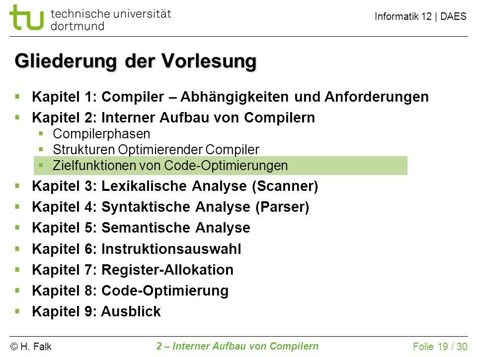 © H. Falk Informatik 12 | DAES 2 – Interner Aufbau von Compilern Folie 19 / 30 Gliederung der Vorlesung Kapitel 1: Compiler – Abhängigkeiten und Anfor