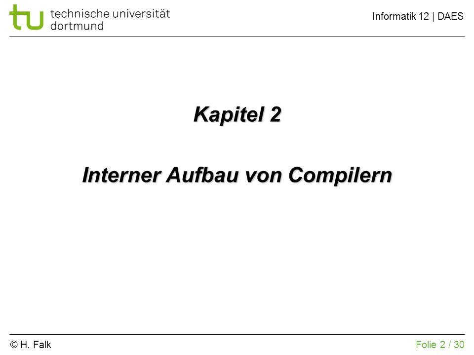 © H. Falk Informatik 12 | DAES 2 – Interner Aufbau von Compilern Folie 2 / 30 Kapitel 2 Interner Aufbau von Compilern